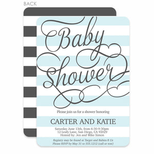 Fresh Stripes Blue Baby Shower Invitation