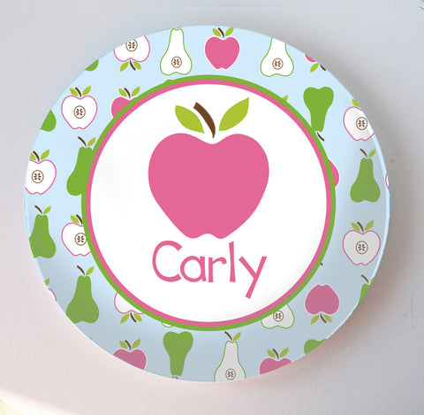 pinka and green apples and pears melamine plate