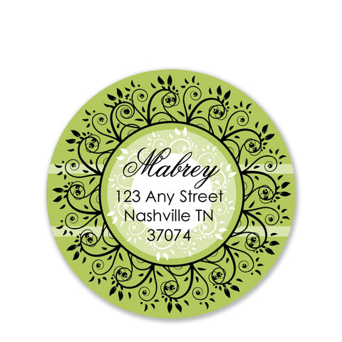 Garden Vine Return Address Sticker | Swanky Press | Round