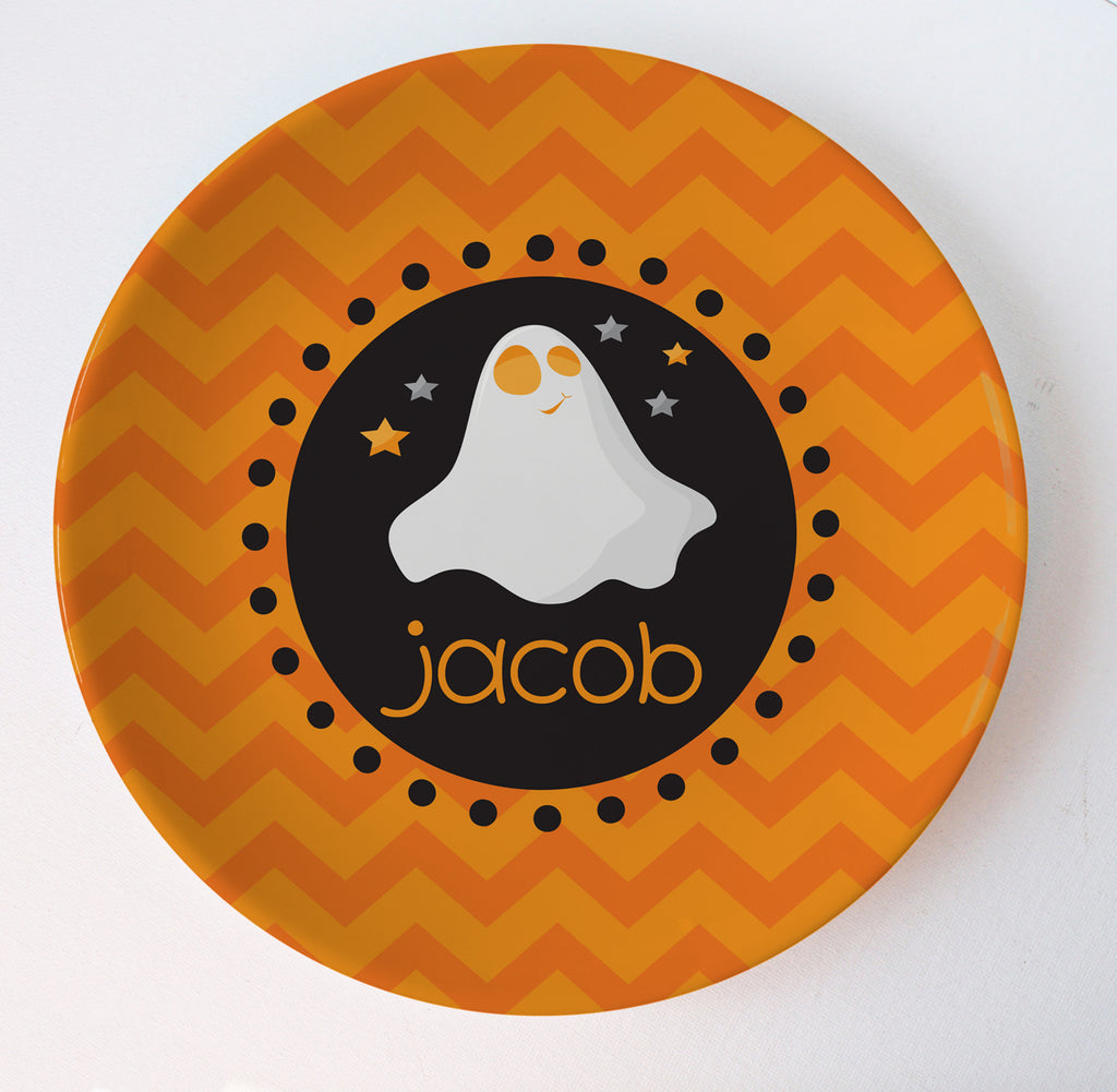 Halloween plate ghost chevron