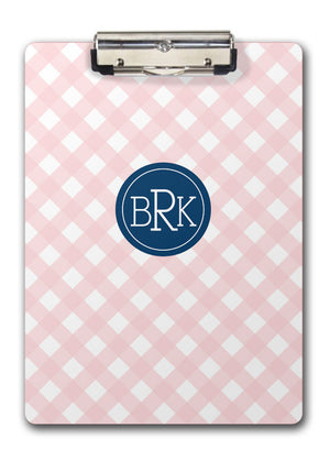 Pink gingham two sided clipboard with monogram on navy medallion