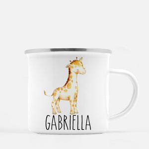 giraffe camp mug, personalized with child's name, Pipsy.com