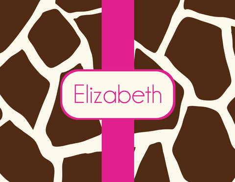 Giraffe print with name on folded notecard