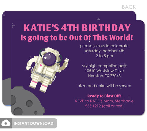 Purple Astronaut in Space birthday invitation, printable diy download