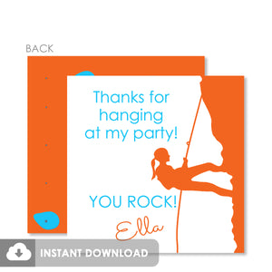 Girl Rock Climbing Birthday Party Favor Tags, Instant Download Templett, PIPSY.COM