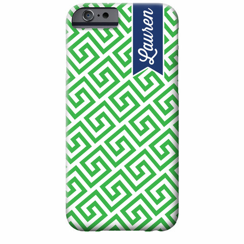 Greek Key Banner Personalized iPhone Case | Swanky Press