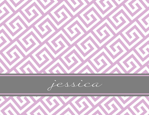 Greek key in lavender with grey stripe folded notecards