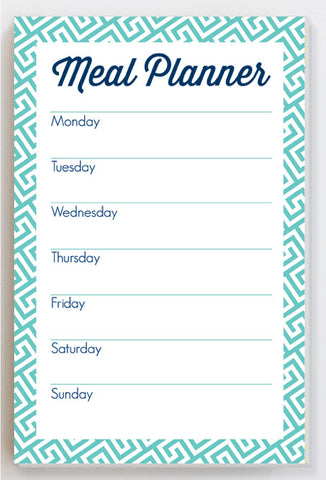 meal planner notepad with greek key design