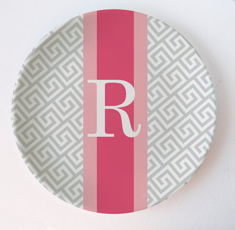 Greek key personalized melamine plate in grey and bright pink initial