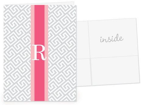 Greek key pocket folder with grey and pink rugby stripe and initial