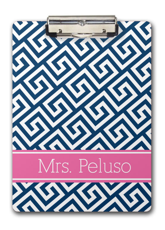 Navy greek key with pink name band clipboard