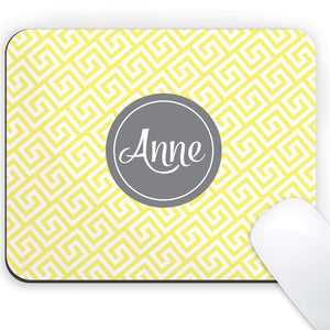 Greek key in yellow with grey name medallion mouse pad