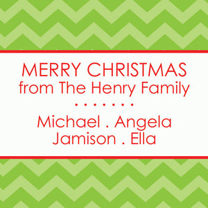 Merry merry merry green chevron, red gift tags
