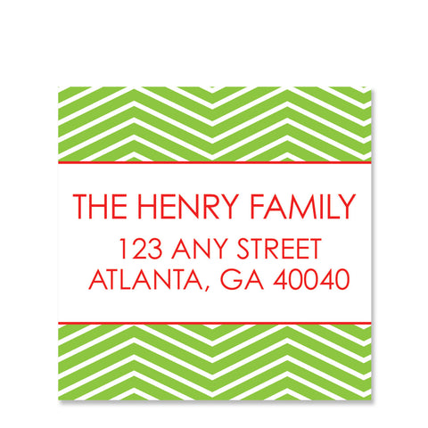 Green Chevron Return Address Sticker | Swanky Press | Square
