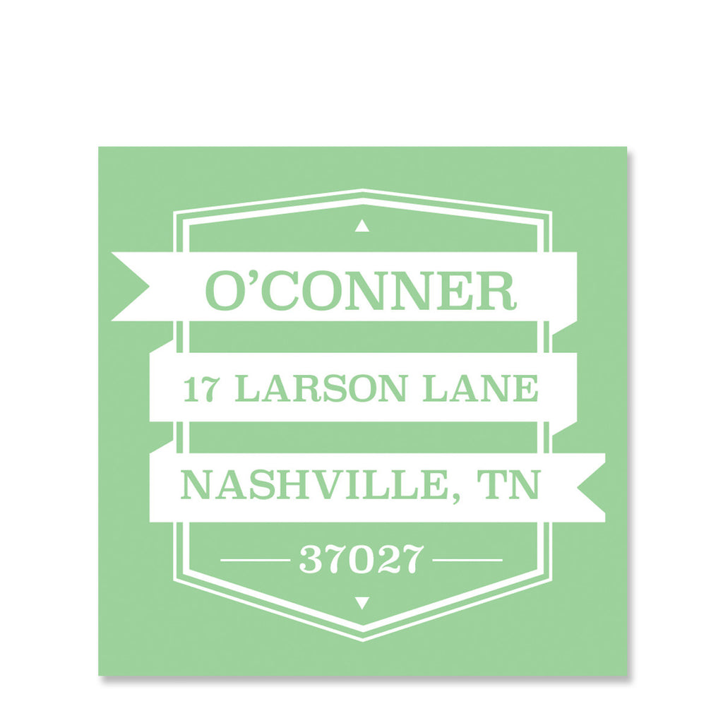 Cutout Return Address Sticker | Swanky Press | Green
