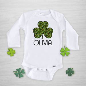 Leopard Cheetah Print shamrock St. Patrick's Day Onesie, Personalized, long sleeved