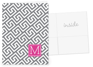 Grey greek key pattern with fuchsia for initial pocket folder