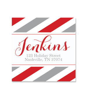 Grey and Red Striped Return Address Sticker | Swanky Press | Square