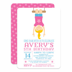 Gymnastics Birthday Invitations, Pink (Printed)