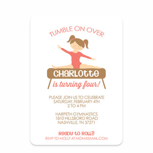 Gymnastics Party Birthday Invitation | Swanky Press | Front