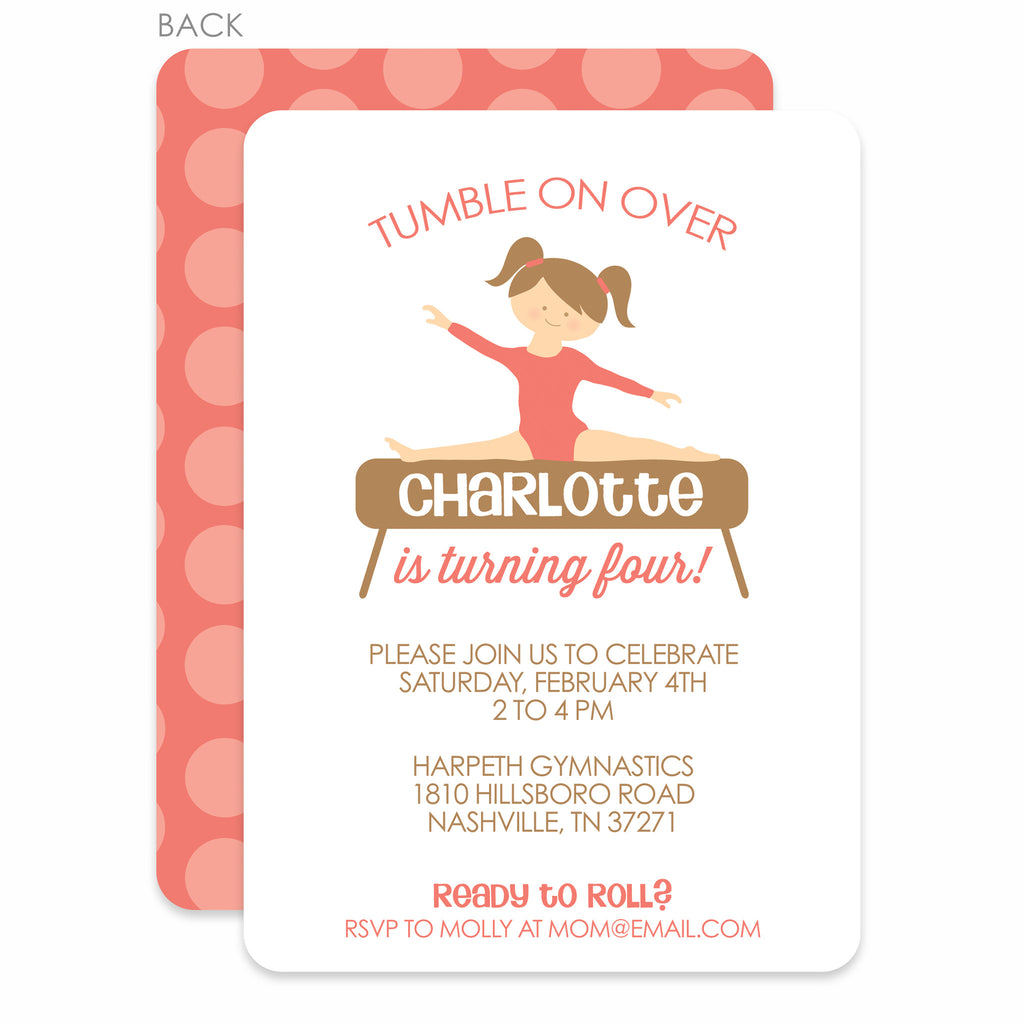 Gymnastics Party Birthday Invitation Printed Pipsy – Gymnastic Birthday Invitations