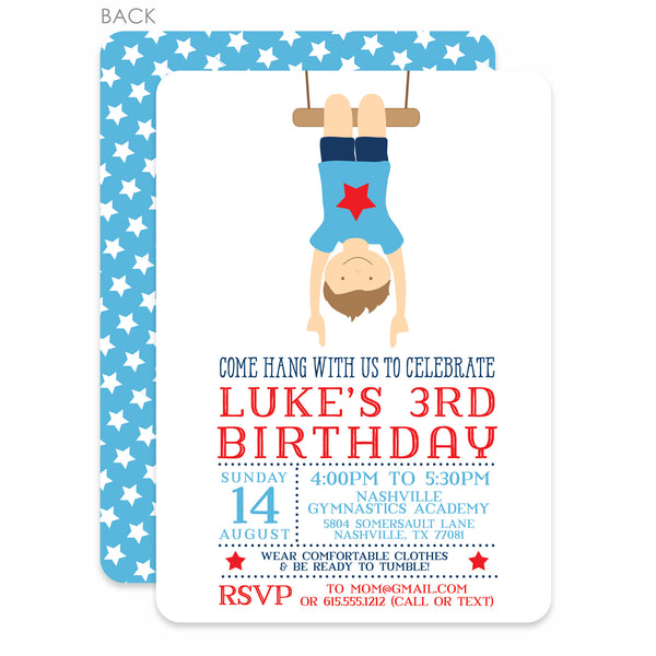 Gymnastics Boy Birthday Invitation | Swanky Press