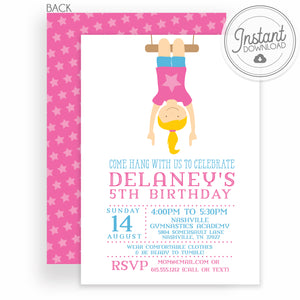Girl Gymnastics Birthday Invitation | Instant download and editable | PIPSY.COM