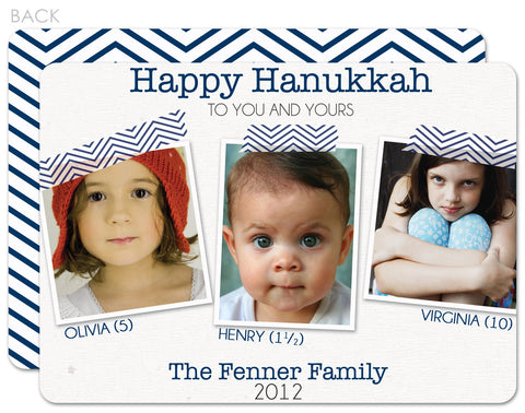 japanese washi tape chevron print hannukah photo card