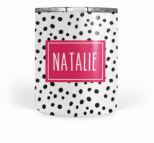 Happy Dots double-walled stainless steel tumbler, short, pipsy.com