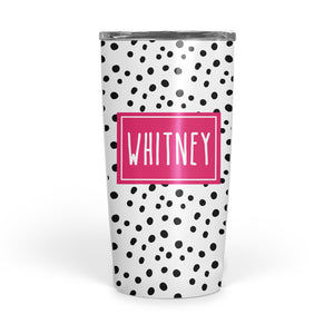 Happy Dots double-walled stainless steel coffee tumbler, pipsy.com