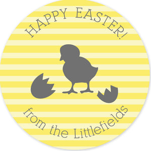Hatched chick on yellow stripe round stickers