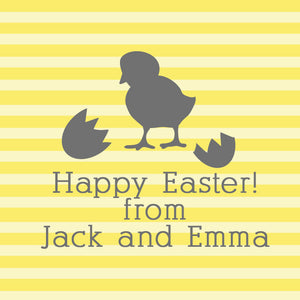 Hatched chick on yellow stripe square Easter gift tags