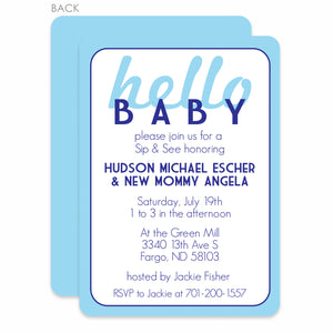 Hello, Baby! Blue Shower Invitation