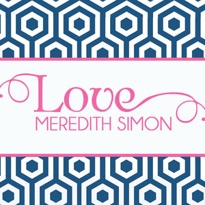 Sophisticated hexagons in navy with pink gift tags for Valentines's Day