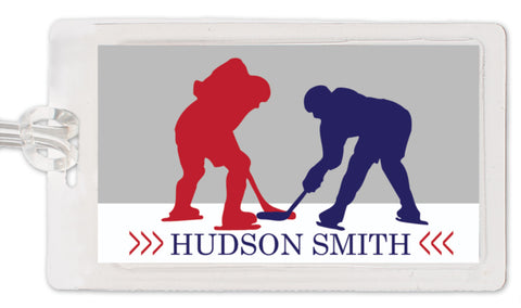 Hockey theme bag tag in red and blue