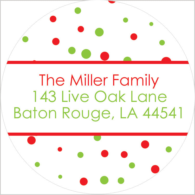 Holiday lights red green and white square return address sticker