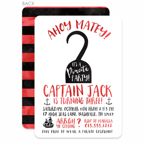 Hook Pirate Invitation in Watercolor | Swanky Press