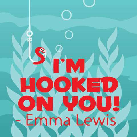 I'm hooked on you gift tags in green and red for Valentine's day