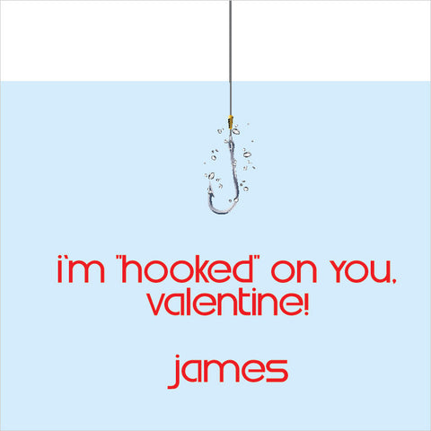 I'm hooked in blue water with red letters gift tags for Valentine's day