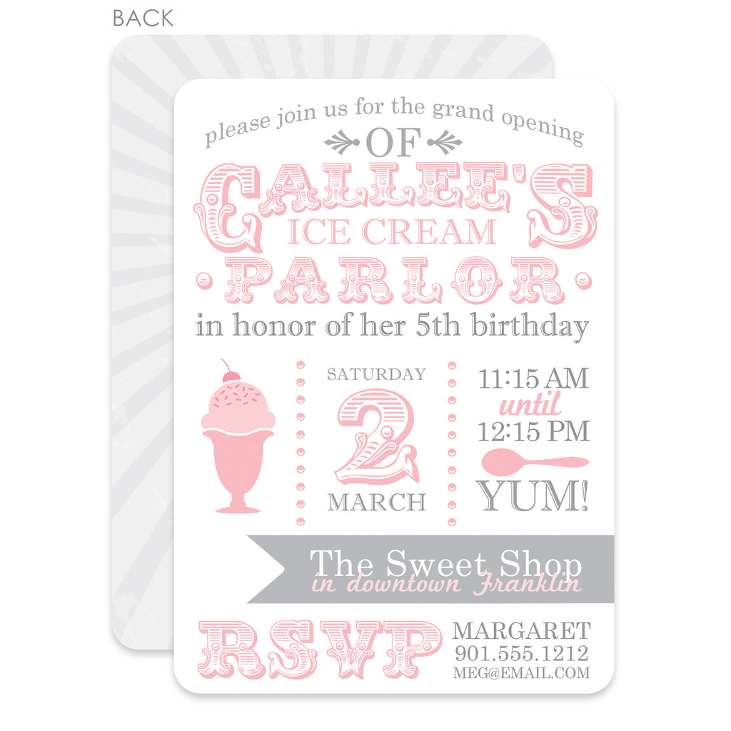 Swanky Press Ice Cream Parlor Birthday Invitation Pink Printed
