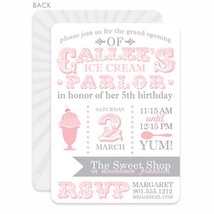 Ice Cream Parlor Birthday Invitation | Swanky Press | Pink