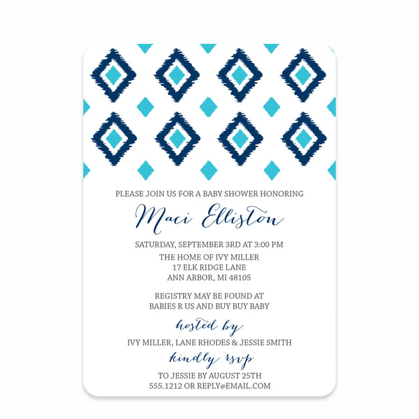 Ikat Baby Boy Shower Invitation