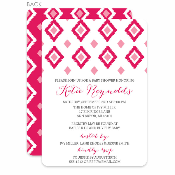 Ikat Girl Baby Shower Invitation