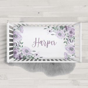 Purple watercolor Roses crib sheet | Pipsy.com