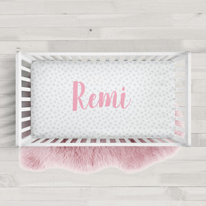 Polka Dot Personalized Crib Sheet | PIPSY.COM