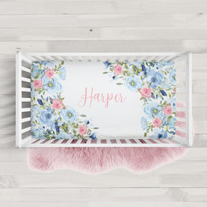 Blue and Pink Floral Personalized Crib Sheet | PIPSY.COM
