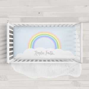 Rainbow Baby Personalized Crib Sheet | Pipsy.com