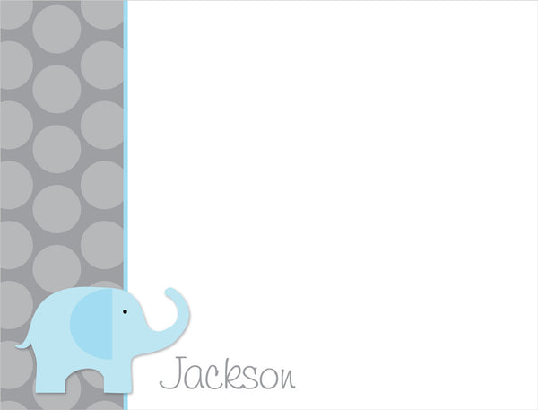 blue elephant flat notecards thank you notes