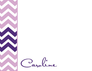 Plum chevron (purple and lavender) personalized flat notecards