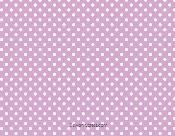 Lavender dots with green flat notecards